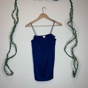 J.Crew Navy Ruffle Front Silky Camisole Tank Top